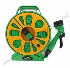 15m Flat Garden Hose Pipe & Reel Set With Spray Gun Garden Watering Water Nozzle