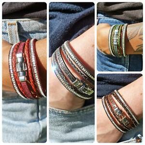 Wickelarmband Edelstahl 19/20cm Magnetverschluss Strass Armband Damen Top Preis