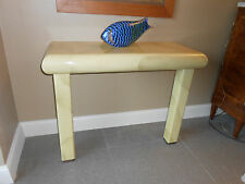 Mid Century Faux Goatskin/Parchment, Karl Springer Style Console/Foyer/Table