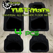 RUGGED TUFF 4 PCS FLOOR MATS NEW UNIVERSAL TRIM CUT BLACK SEMI CARPET HEAVY DUTY