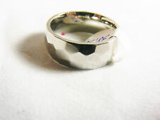 Stainless Steel Ring band, 6 mm polished and hammered