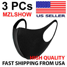 3 Pc Mzlshow Sealed Black Mouth Cover Shield Resuable Face Maxk Unisex Us Seller
