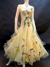 Ballroom Competition Dance Dress Yellow Floral Waltz Gown Made with Swarovski