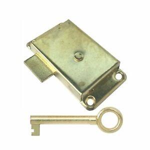 Dzina Wardrobe Lock 63mm x 25mm Electrobrassed with Key Pack of 1
