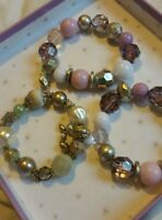 accessorize set of 3 lilac charm beaded bracelets