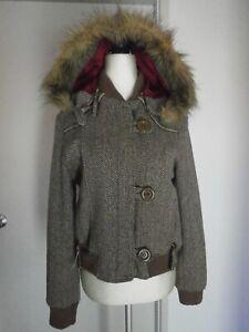 SAMBAG Brown Chevron Wool Blend Removable Hood Jacket Size 12