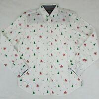 Eighty Eight Christmas Button Up Shirt Men's Long Sleeve Shirt Reindeer White