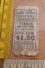 1963 Los Angeles city boys Basketball ticket Sports Arena
