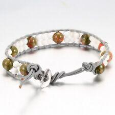 Grey Leather  Friendship Bracelet, With Onyx Beads  & Howlite Beads.