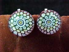 Millefiori Earrings Beautiful Unique Design Silver Clip