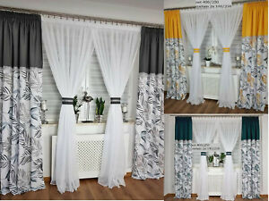 Stunning contemporary set net curtain with two curtains grey yellow green Leaves