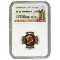 Great Britain 1 Penny 1986 Elizabeth II NGC PF 69 RD Red Ultra Cameo KM# 935