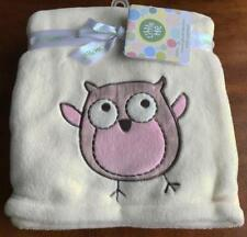 LITTLE ME BABY BLANKET SOFT PLUSH IVORY PINK OWL Layette Swaddle Holiday