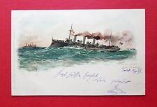 Künstler Litho AK SCHIFFE 1898 S.M. Aviso Greif unter Volldampf    ( 37968