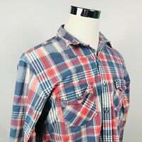 Brooks Brothers Mens Large Extra Slim Fit Casual Shirt Blue Red Plaid Cotton