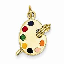 NEW SOLID 14K YELLOW GOLD ENAMEL PAINTER PALETTE CHARM PENDANT FOR NECKLACE 20MM