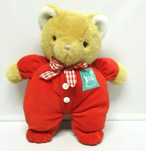 Eden Teddy Bear Plush RED VELOUR PAJAMAS Horse Patch Vtg Tan Stuffed Animal  Bow