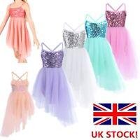 UK Girls Sequin Lyrical Ballet Dance Dress Kids Irregular Latin Ballroom Costume