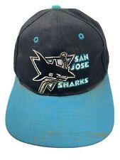 Vintage San Jose Sharks NHL Logo 7 Hockey Snapback Adult Cap Hat