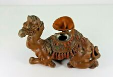 Antique Cold Painted White Metal Reclining Camel Ink Well with Glass Insert