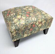 Footstool pouffe William Morris Golden Lily Minor thief dark wood feet