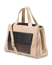 Perlina Beige Black Brown Colorblock Leather Audrey East West Tote Bag NWT