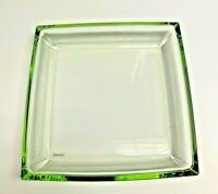 Studio  Hand Crafted Green Glass Art Square Decorative Tray