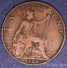 1908 Edward VII centime, quart de penny 1/4d coin * [6573]