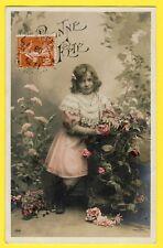 carte Postale Ancienne de 1908 BONNE FÊTE Jeune Fille Little Girl Fleurs Rosier