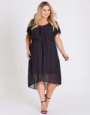 Autograph black polka-dot short sleeve slip lined drawstring waist DRESS 18 NEW