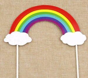 rainbow cloud multi colour cake topper cake decoration  birthday
