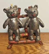 Ino Schaller Bayern Gun Metal Color Glittered Bears, Made in Germany, Deko, Nwt