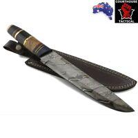 Handmade Bowie Knife, Damascus Blade, Buffalo Horn/Walnut Handle, Leather Sheath