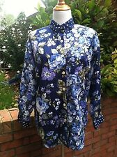 Vintage Long Sleeve Floral Blouse/Shirt With Polka Dot Trim Point Collar