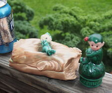 VINTAGE UCAGCO ELF PIXIE on Log Trinket Box Bisque face & BONUS Elf on Mushroom