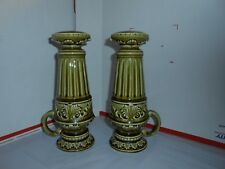 "HUGE VTG P A C JAPAN 9 1/4"" TALL CERAMIC CHAMBER CANDLE SALT & PEPPER SHAKERS"
