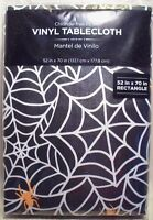 """Holiday Time Spider Web Tablecloth Vinyl Rectangle Black 52""""x70"""" Halloween Party"""