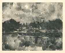 PAUL CEZANNE -BORD D'UNE RIVIERE- VINTAGE HELIOGRAVURE-1914 -ON VELIN