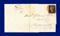1840 SG2 1d Black Plate 6 AS41 HJ Red MX tied to Portsmouth-Poole wrapper bbpn