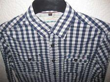 Mans 'RIVER ISLAND' Blue & White Check shirt. Sz;S Beautiful.