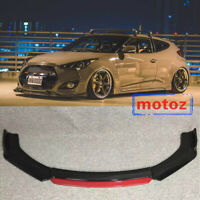 3PC Gloss Black Front Bumper Molding Cover Trim FOR Hyundai Veloster 13-17