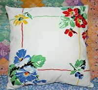 Vintage Wilendur Rosemead Floral and Berries Farmhouse Tablecloth Throw Pillow