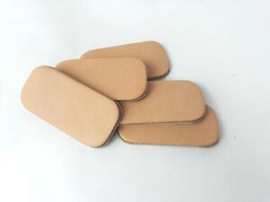 Leather rectangle blanks pyrography keyring tag initials  3.3mm veg tan plain x5