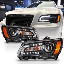 """BLACK LED DRL"" 2011-2014 Chrysler 300 Factory Style Headlight Lamps Replacement"