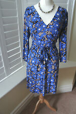 PHASE EIGHT BLUE BROWN FLORAL JERSEY KNEE LENGTH OCCASION DRESS SIZE 16 BNWOT