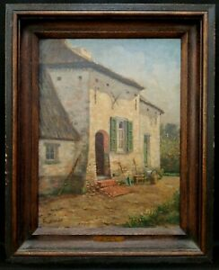19th CENTURY BELGIAN OIL ON CANVAS STONE HOUSE ANTIQUE ARCHITECTURAL PAINTING