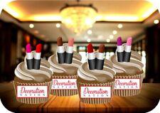 Lipstick Mix 12 Edible STANDUP Cake Toppers Decoration Birthday Make Up Glam Fun
