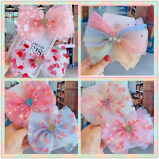 Baby Girls kids Ribbon Bow Princess Chiffon Heart Hair Clip Bows Clips Toddler