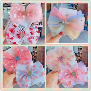 Baby Girls kids Ribbon Bow Princess Chiffon Heart Hair Clip Bows Clips Toddler