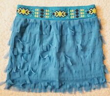 Justice Blue Tiered Fringed Skirt With Colorful Beaded Waist Band Sz 12